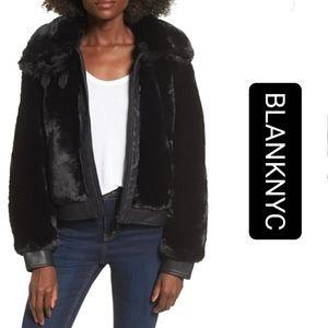 🏆BLANK NYC Black Noise Faux Fur Jacket